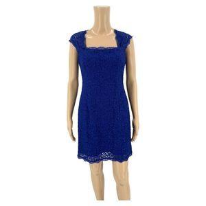 Adrianna Papell Sheath Dress Size 6P Blue Lace